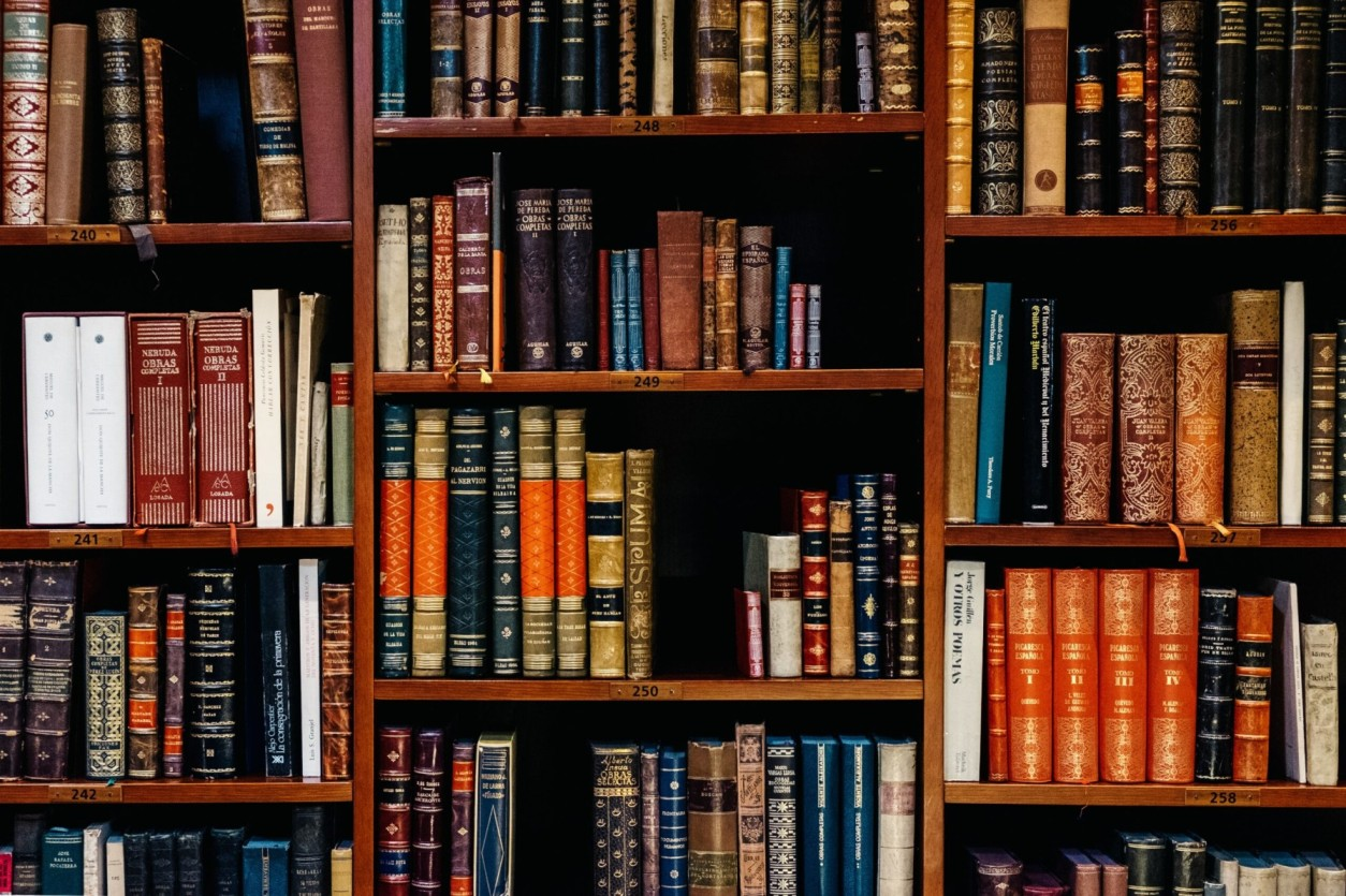 A bookshelf containing volumes of books about English Law